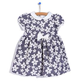Summer Baby Girl Flower Poplin Short Sleeve Round Collar Dress