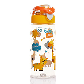 Renga Patterned PP Water Bottle Green 300ml with Straw