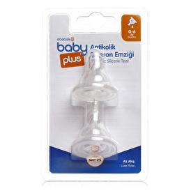 baby plus Antikolik PP Biberon Yedek Emziği No:1 Az Akış İkili