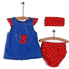 Yaz Kız Bebek Bandanalı Baskılı Pamuklu Elbise