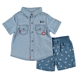 Fish Printed Short Sleeve Baby Shirt Short Set