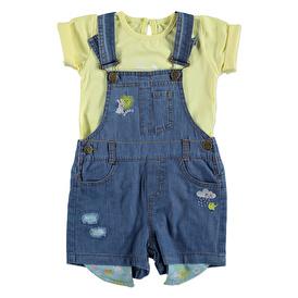 Summer Baby Girl Rabbit Sun Embroidered Dungarees T-shirt Set