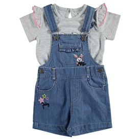 Summer Baby Girl Rabbit Embroidered Dungarees T-shirt Set