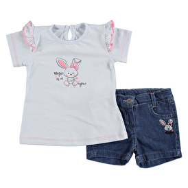 Summer Baby Girl Rabbit Embroidered Shirt Short Set