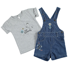 Summer Baby Girl Butterfly Embroidered Dungarees T-shirt Set