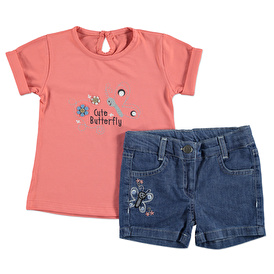 Summer Baby Girl Butterfly Embroidered T-shirt Short Set