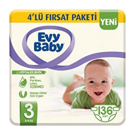 Bebek Bezi 3 Beden Midi 4'lü Fırsat Paketi 136 Adet
