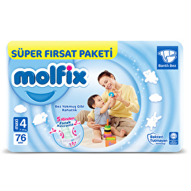 Baby Diapers Size 4 Maxi Super Value 7-14 kg 76 pcs