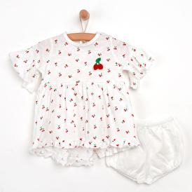 Kirazlı Elbise-Külot 2li Takım