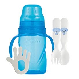 Mamajoo 270 Ml Educational Blue Glass 2-Piece Spo on Fork and Teether Set