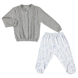 Baby Girl Heart-Print Snap Cardigan with Booties Bottom 2-piece Set