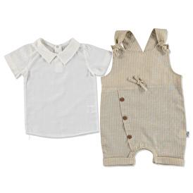 Summer Baby Boy Button Short Dungarees 2 pcs Set