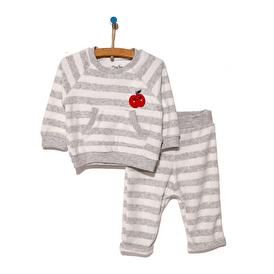Çizgili Kadife Cep Detaylı Sweatshirt-Pantolon