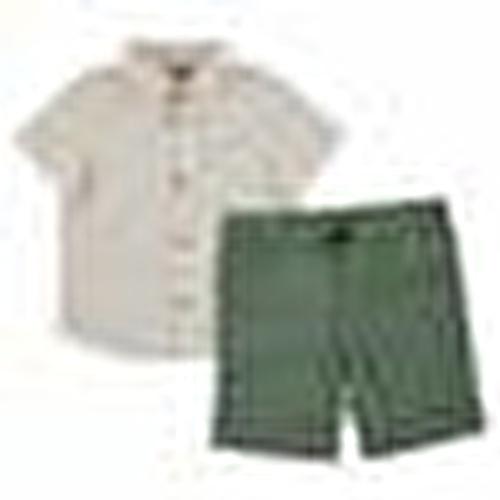 Çıtçıtlı Papyon Detaylı Pamuklu Kısa Kol Polo Yaka 2li Gömlek-Pantolon