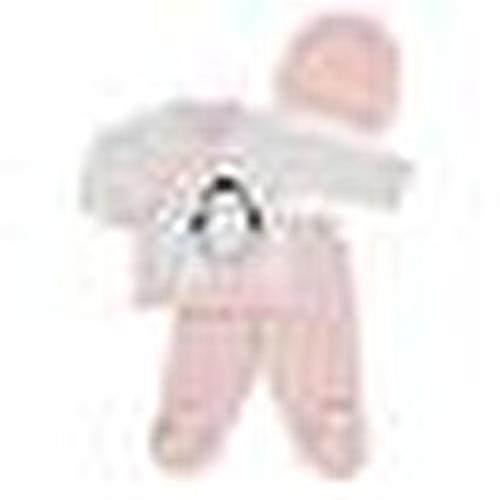 Kız Bebek Penguen 3'lü Zıbın-Şapka-Patikli Alt