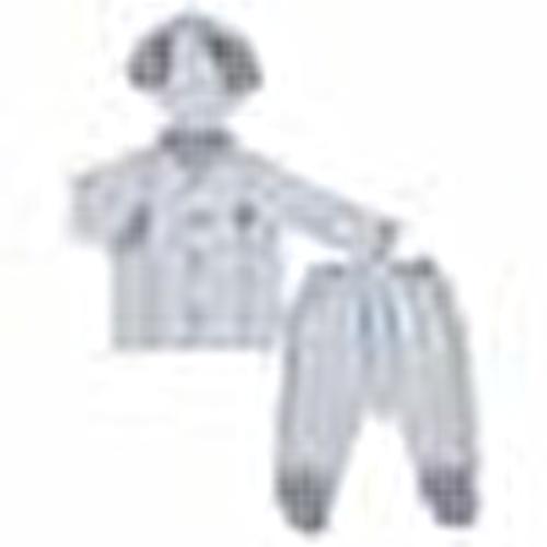 Yaz Erkek Bebek Denizci Ayıcık Poplin Uzun Kol Çıtçıtlı Yaka 3lü Zıbın-Şapka-Patikli Alt
