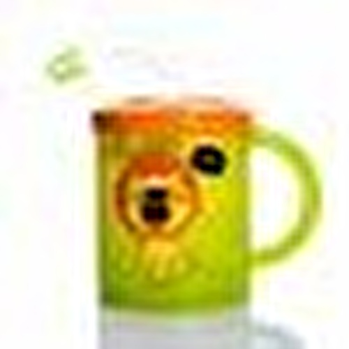 Patterned PP Cup With Straw Green 210ml