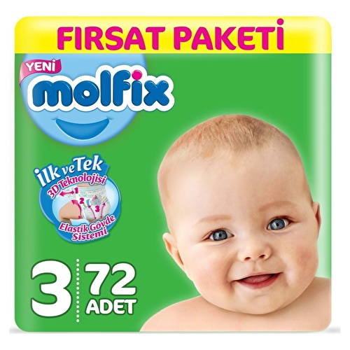 Baby Diapers Size 3 Midi Advantage Pack 4-9 kg 72 pcs
