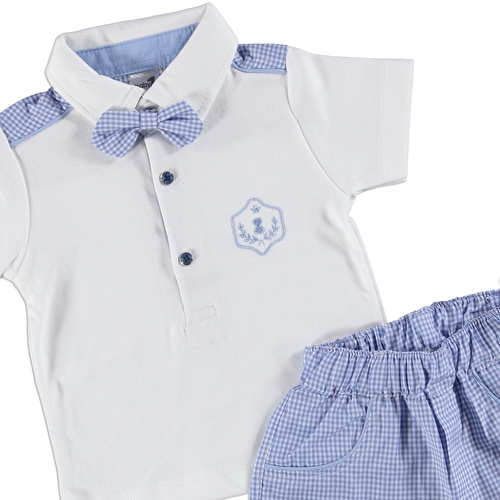 Baby Boy Bow Tie Polo Neck Tshirt Short Set
