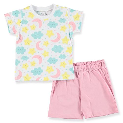 Sleepy Feature Printed Short Sleeve Baby Girl Pyjamas
