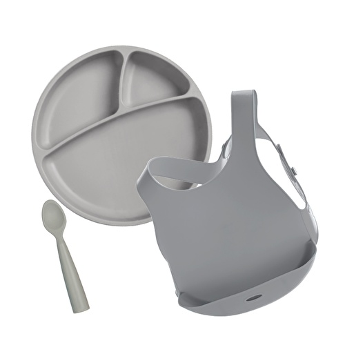 Assorted Food and Utensil Set (Plate + Bib + 1 Spoon)