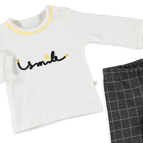 Bebek Smile Polo Yaka Sweatshirt Patikli Alt 2Li Takım