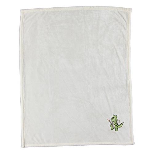 Multipurpose Dino Embroidered Baby Blanket 80x90 cm - Beige