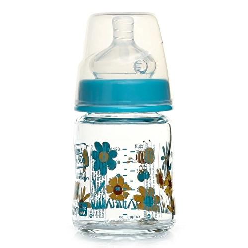 Patterned Wide-Neck Glass Baby Bottle 120 ml