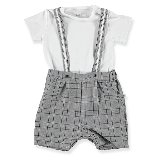 Baby Boy Plaid Detailed Shorts Jumpsuit Polo Neck Tshirt Set