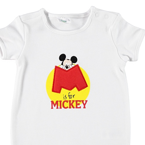 Baby Boy Mickey Mouse Printed Short Sleeve Jumpsuit