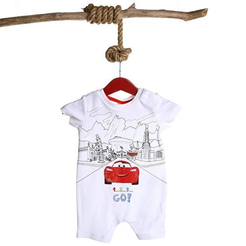 Baby Boy Cars Printed Short Sleeve Jumpsuit