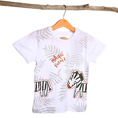 Erkek Bebek Zebra Nakışlı Süprem Tshirt