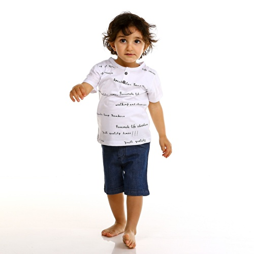 Baby Boy Crew Neck Button Detailed Tshirt