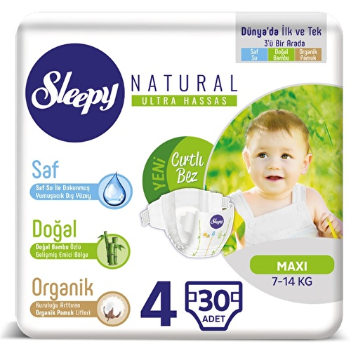 Natural Baby Diapers Size 4 Maxi 7-14 kg 30 pcs