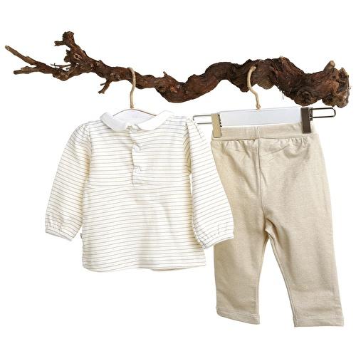 Mary Baby Girl Peter Pan Collar Sweatshirt Rib Trousers