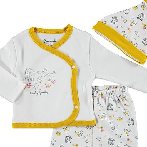 Kız Bebek Mutlu Aile Zıbın Şapka Patikli Alt 3Lü Takım