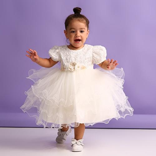 Dantelli Kabarık Etekli Abiye Kız Bebek Elbise