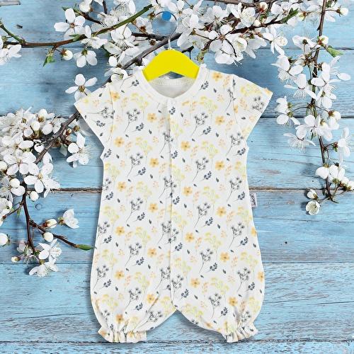 Kız Bebek Sarı Çiçek Kısa Tulum