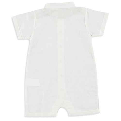 Baby Boy Linen Polo Neck Short Romper