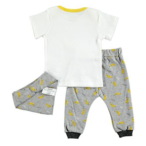 Yaz Erkek Bebek Komik Muzlar İnterlok Kısa Kol Ribanalı Zarf Yaka 3lü Tshirt