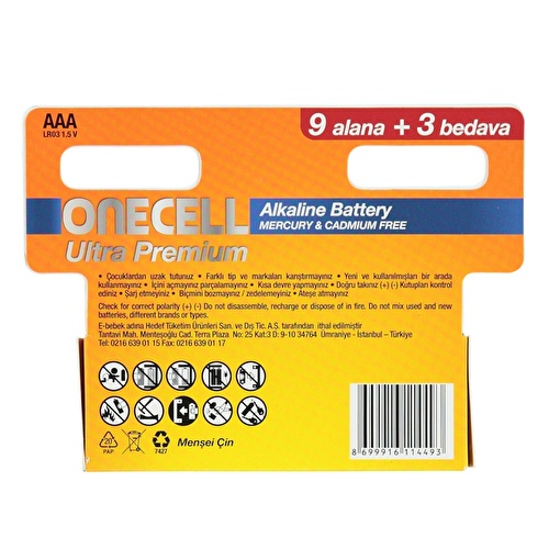 Ultra Premium Alkalin AAA Boy Pil 9+3