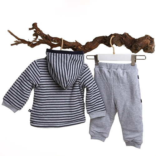 Erkek Bebek Martin Welsoft Kapüşonlu Sweatshirt Tek Alt 2li Takım