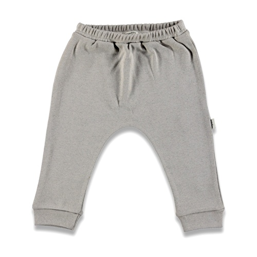 Organik Bebek Gri Yünlü Ribana Pantalon
