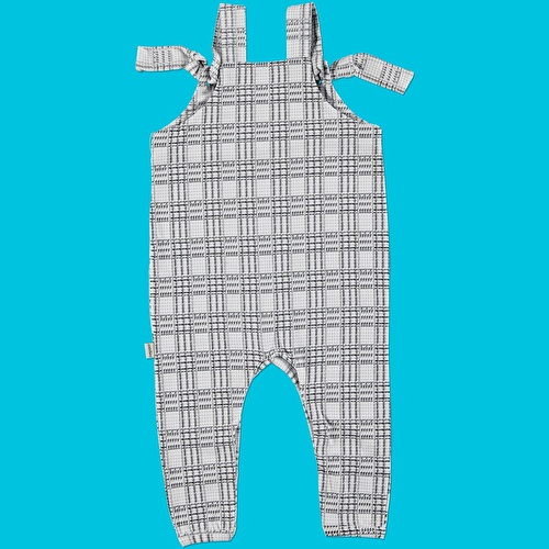 Baby Organic Plaid Pattern Suprem Fabric Dungarees