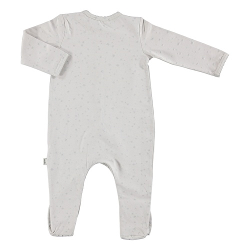 Baby Organic Star Patterned Jersey Fabric Footed Romper