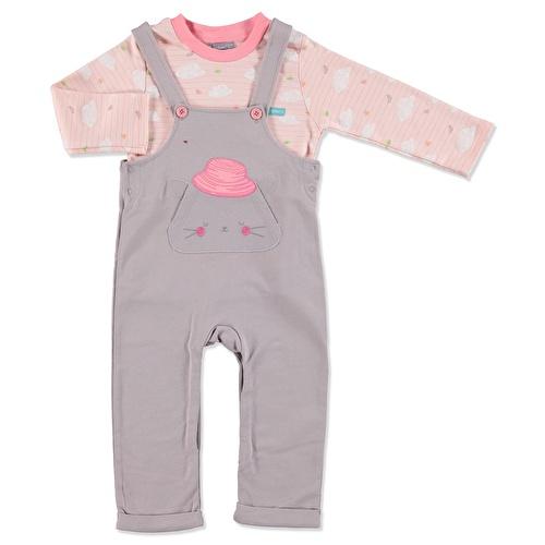 Kız Bebek İzci Kedi Salopet Sweatshirt 2Li Takım