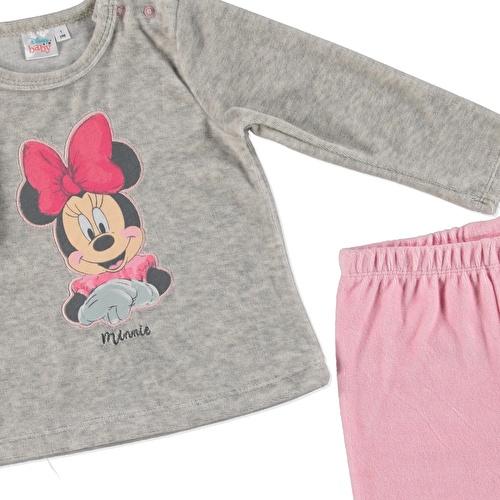 Kış Kız Bebek Minnie Mouse Lisanslı Kadife Eşofman Takım