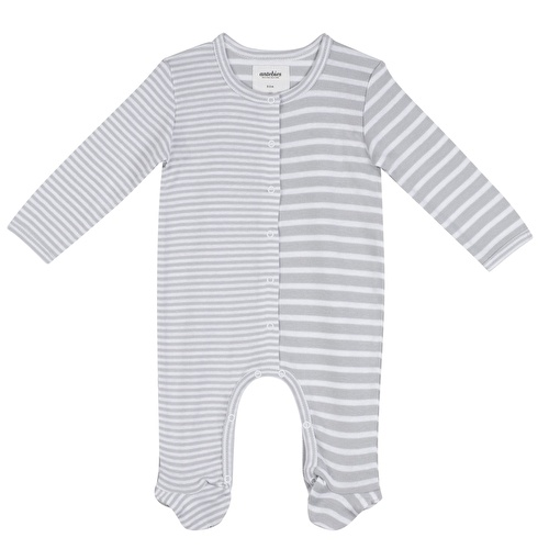 Organic Grey White Striped Long Sleeve Baby Girls&Baby Boys Romper