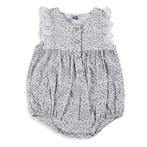 Lacy Detailed Baby Girl Button Short Romper