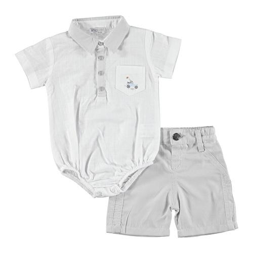 Baby Boy Panda Theme Shirt Bodysuit Short Set